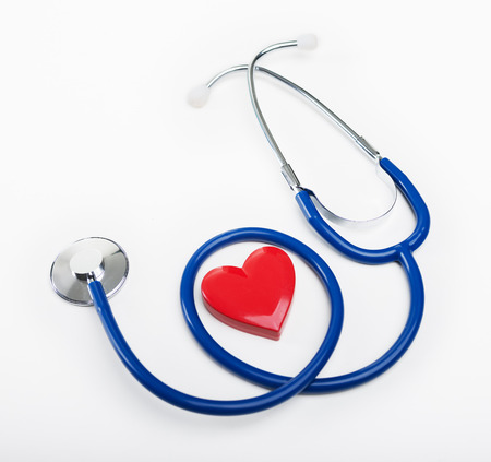 red stethoscope: Blue stethoscope and heart shape, cardiovascular diseases and prevention concept. Stock Photo