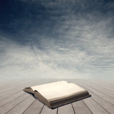 Old open book on wooden planks with blank pages and sky on background. photo