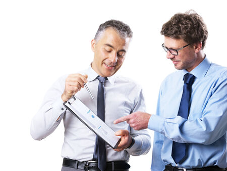 collegue: Businessman showing documents to his collegue and discussing on white background. Stock Photo