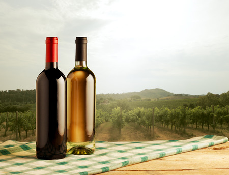 Red and white wine bottles standing on checked tablecloth and vineyard on background. photo