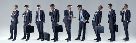 facial expression: Young handsome businessman, set of poses and facial expressions.