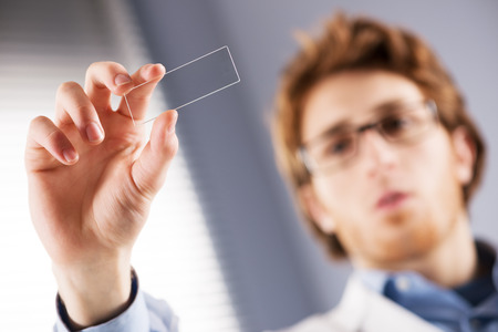 slide glass: Young researcher holding a microscope glass slide in the laboratory. Stock Photo