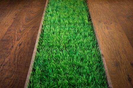 pasto sintetico: Césped artificial exuberante verde en suelo de madera oscura en el interior. Foto de archivo