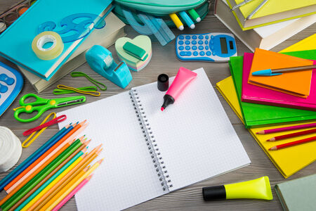 scotch tape: Student equipment with colorful stationery and notebook, back to school concept.