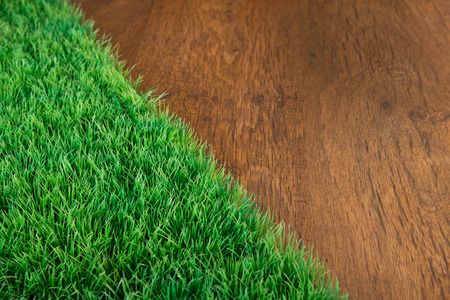 hardwood floor: Artificial lush grass close-up on wooden hardwood floor. Stock Photo