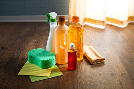 floor cloth: Wood floor cleaner products on parquet with sponges and microfiber cloth. Stock Photo