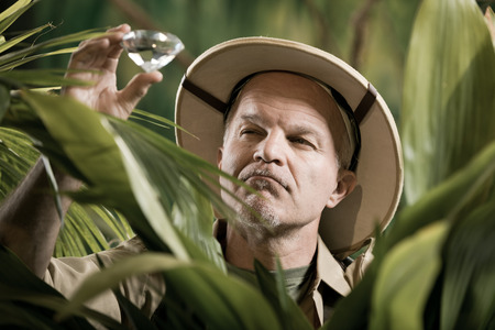 médula: Explorador de la búsqueda de una enorme gema preciosa en desierto selva. Foto de archivo
