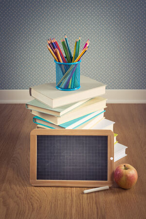 pencil holder: Back to school concept with small chalkboard