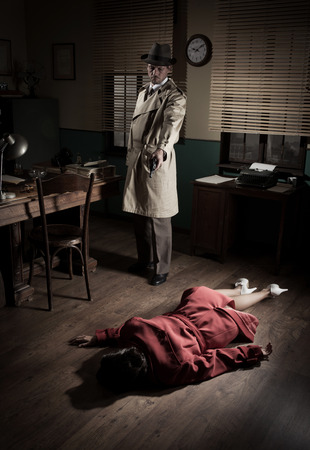 Killer with gun next to a dead woman body lying on the floor, film noir scene.