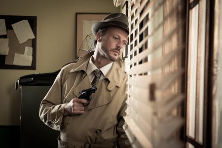 Attractive spy agent peeking from an office window, film noir.