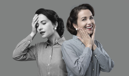 1950s style woman expression changing from weakness to vitality