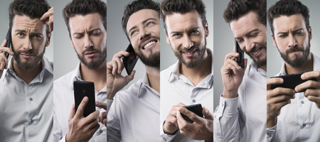 gestos de la cara: El hombre de negocios con una llamada telef�nica con su tel�fono inteligente, foto collage con diferentes expresiones faciales