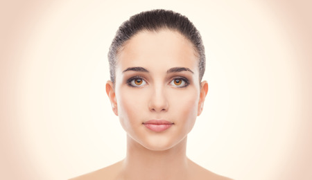 glowing skin: Attractive young woman with glowing face skin