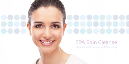 flawless: Skin care and face cleansing banner with smiling woman on dotted background