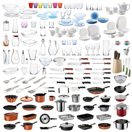 Kitchenware set with cookingfood serving utensils and dishware on white background.