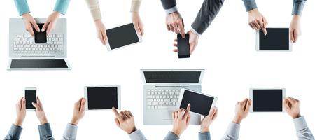 mobile phone screen: Business people team social networking, using computers, tablets and smartphones, top view, white background