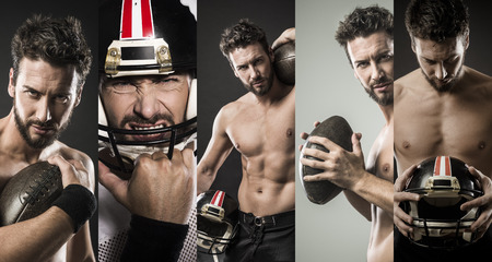 boy muscles: Shirtless confident footbal player holding ball and showing his muscular body Stock Photo