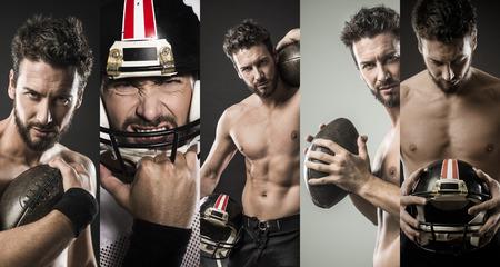 ni�o sin camisa: Sin camisa confidente jugador que sostiene la bola footbal y mostrando su musculoso cuerpo