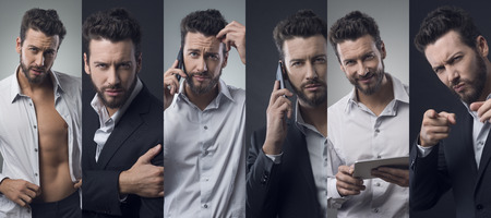 cool man: Confident young cool man posing. Photo collage Stock Photo