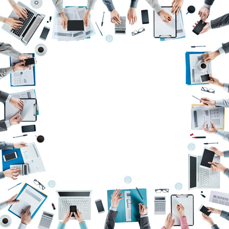 unrecognizable people: Business team meeting and working at office desk, hands top view, unrecognizable people, blank copy space