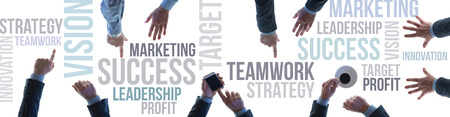 Financial success and business teamwork concept banner with text concepts and businessmens hands top view