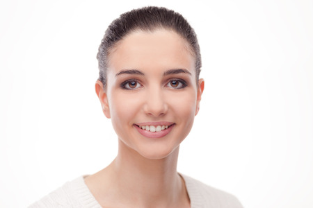 fresh face: Smiling attractive woman with radiant fresh face skin posing on white background