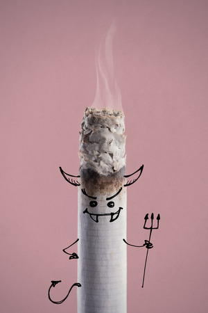 bad habit: Devil cigarette burning, quit smoking and addiction risks concept, hand drawn character