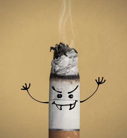 smoking issues: Cigarette burning and evil aggressive funny character with fangs, quit smoking and addiction risks concept