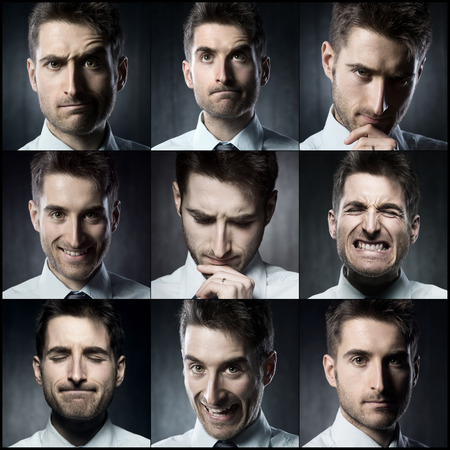 facial expression: Portraits of a young businessman. Various images in a collage Stock Photo