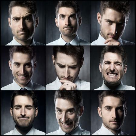 expresiones faciales: Retratos de un joven empresario. Varias imágenes en un collage