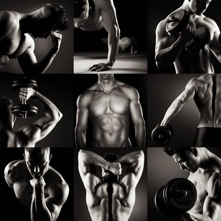 nude male body: Body builder posing.Various images in a collage on dark background.