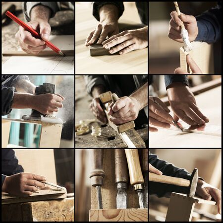 carpenter's sawdust: Collage of Carpenter at work, hands close up Stock Photo