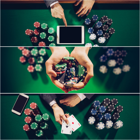 Poker and Casino collage of pictures, top view