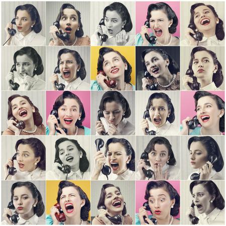 enfado: Mujer de la vendimia en el teléfono, varias imágenes en un collage