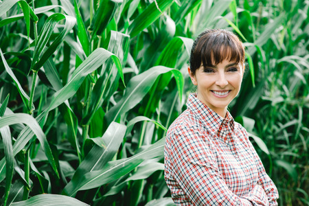 Cheerful female farmer and entrepreneur posing in the corn crop and smiling at camera, agriculture and cultivation concept