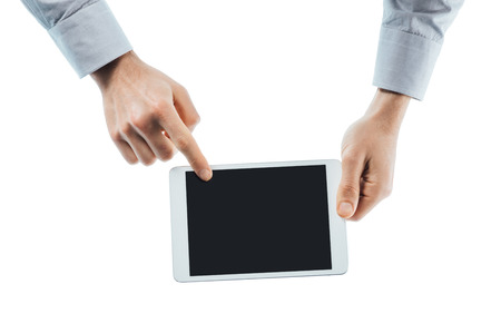 unrecognizable person: Businessman using a digital tablet hands close up with copy space, unrecognizable person Stock Photo