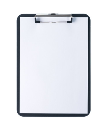Black clipboard with blank white sheet attached on white background
