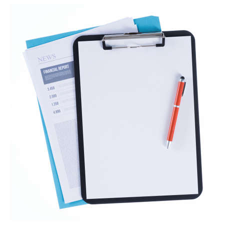 finance report: Clipboard with pen and blank sheet over a file and a financial report on white background, finance and accounting concept Stock Photo