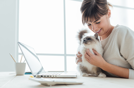 Joven mujer sentada en el escritorio y que abraza a su gato precioso, unión y mascotas concepto