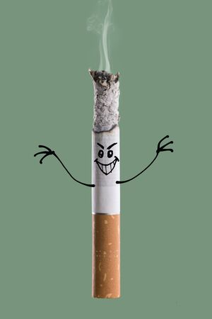 quit smoking: Evil aggressive character on a burning cigarette, quit smoking and addiction risks concept Stock Photo