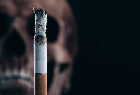 addiction: Cigarette burning with human old skull on background, stop smoking and disease concept