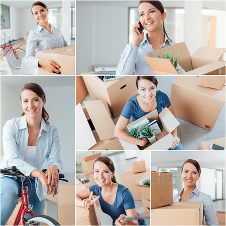 moving office: Young smiling woman moving in her new house or office, she is carrying boxes, unpacking and talking on the phone, relocation and new life concept