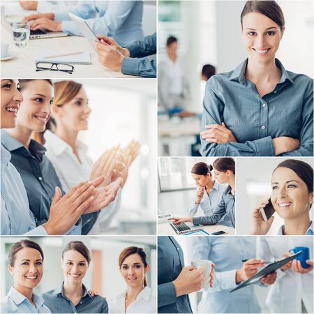 women business: Business collage of pictures,Business women working, portraits and hands close up, Business team concept