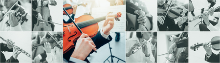 arts and entertainment: Classical music collage of pictures, professional musicians playing instruments portraits and hands close up, arts and entertainment concept