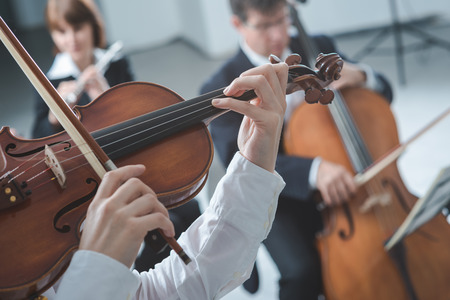 Classical music symphony orchestra string section performing, female violinist playing on foreground, hands close up Stock Photo