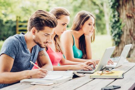 Groep studenten buitenshuis doen zomer huiswerk, met behulp van laptops en schrijven op een notebook, leren en onderwijs concept