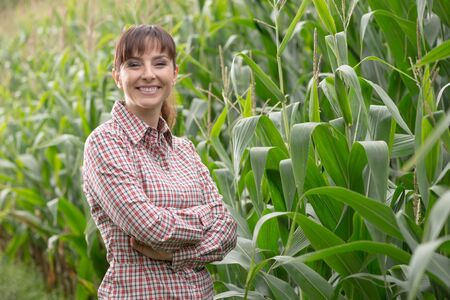 champ de mais: Cheerful female farmer and entrepreneur posing in the corn crop and smiling at camera, agriculture and cultivation concept