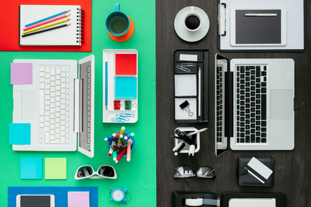 rational: Customized office workspace: creative and colorful desktop on one side, rational and monochromatic on the other side