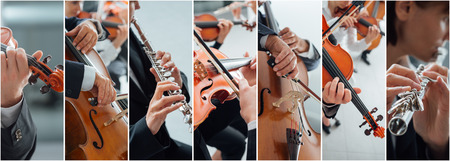 Klassieke muziek collage van foto's, professionele musici die instrumenten portretten en handen close-up, kunst en entertainment concept Stockfoto - 63495373
