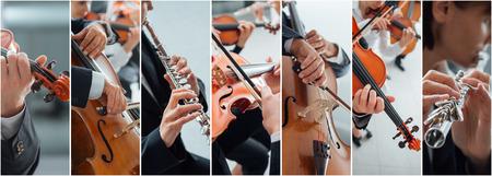 Klassieke muziek collage van foto's, professionele musici die instrumenten portretten en handen close-up, kunst en entertainment concept